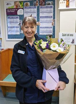 Sue Kite 25 years, Riversbrook Veterinary Group